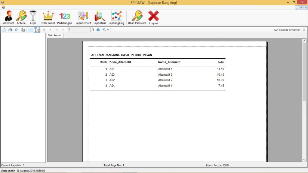 SPK Metode SAW VB.Net Lap Rangking