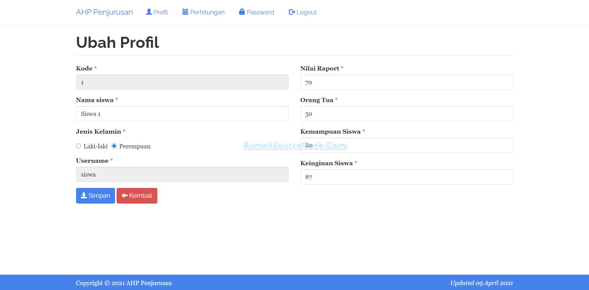 Profil AHP Penjurusan PHP