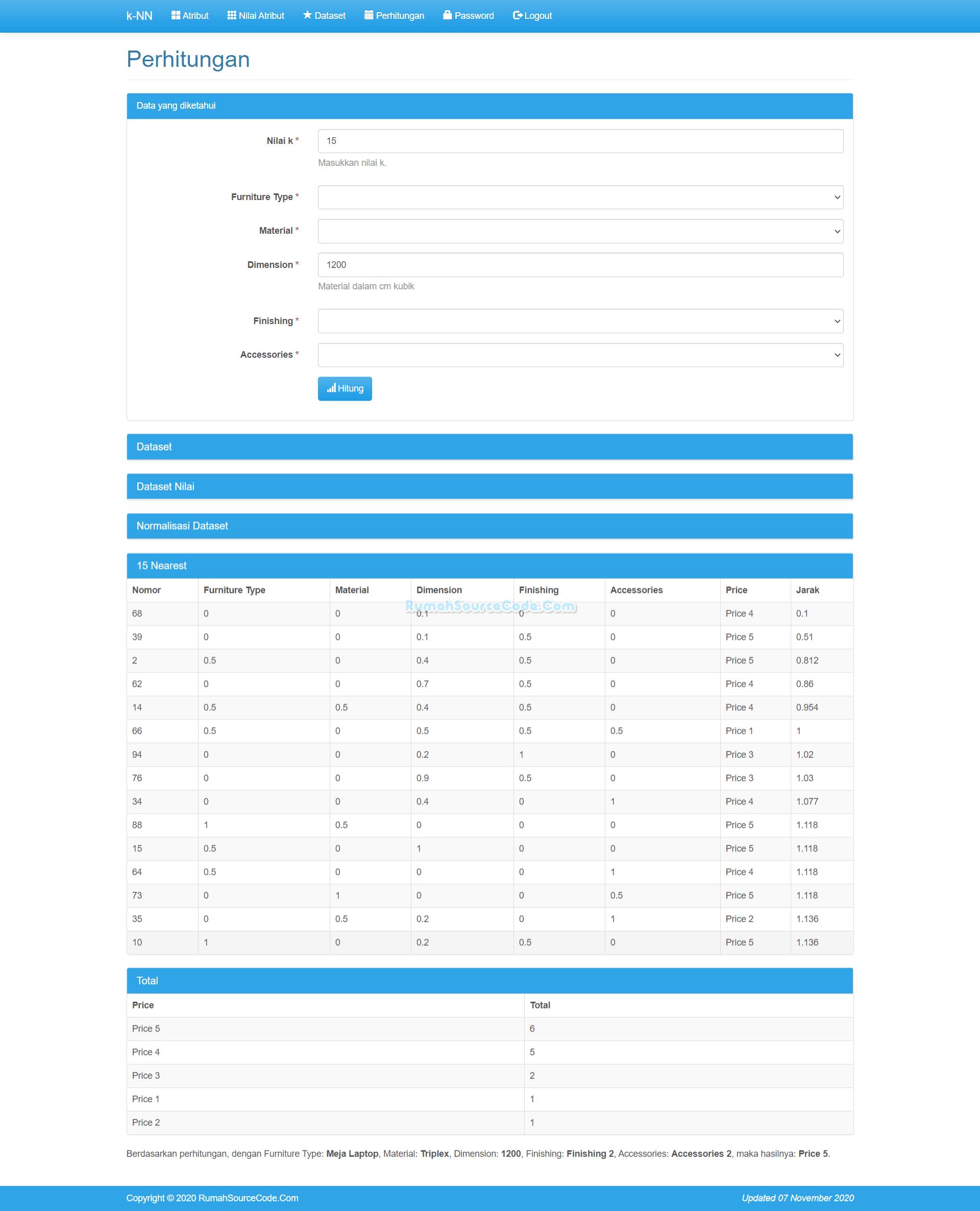 Source Code KNN PHP Perhitungan