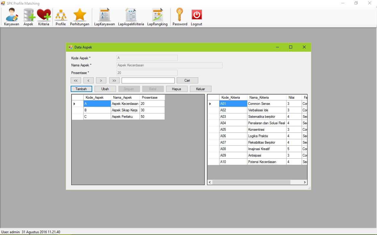SPK Metode Profile Matching VB Form Aspek