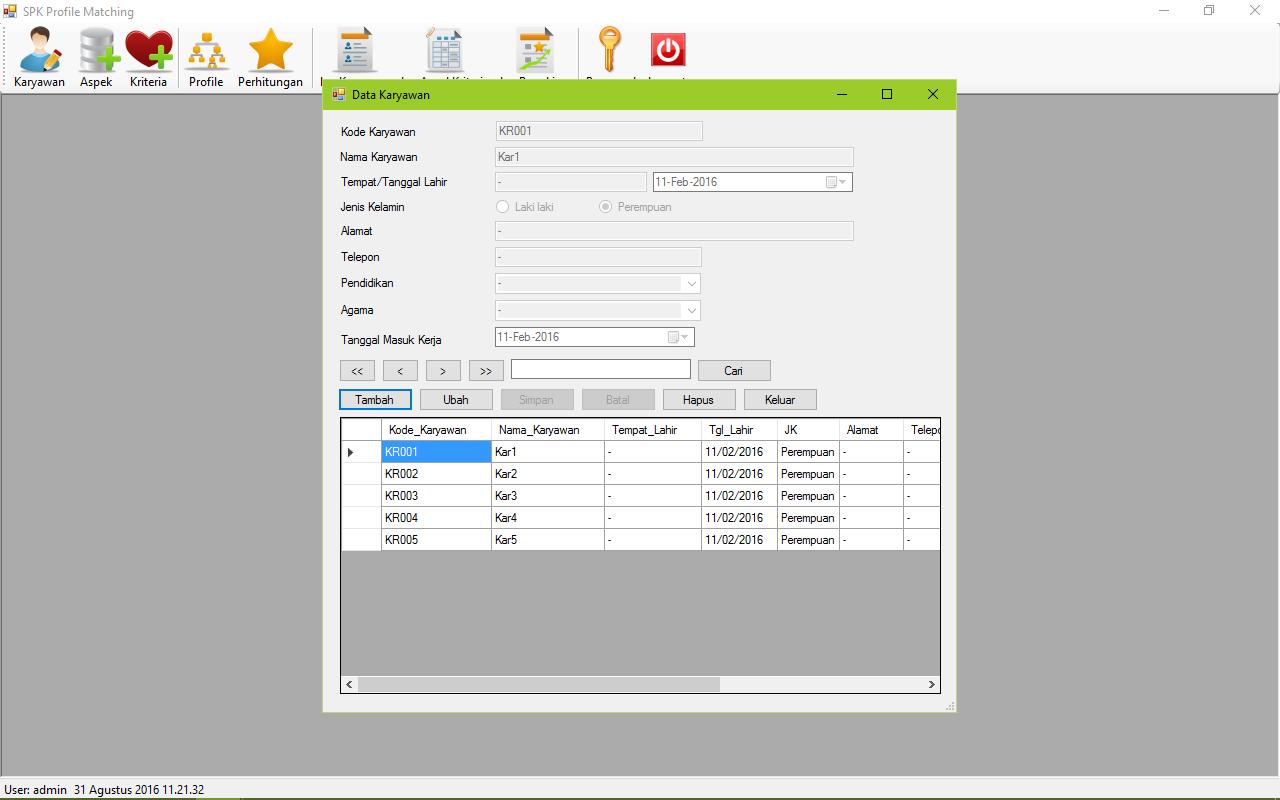 SPK Metode Profile Matching VB Form Karyawan