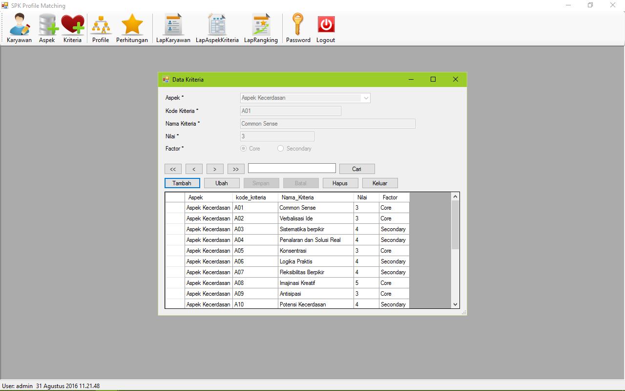SPK Metode Profile Matching VB Form Kriteria