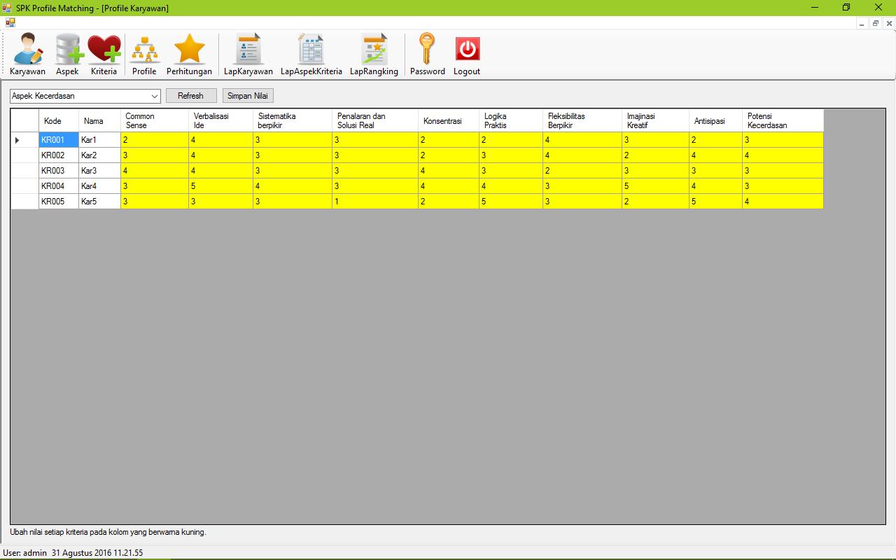 SPK Metode Profile Matching VB Form Profile Karyawan