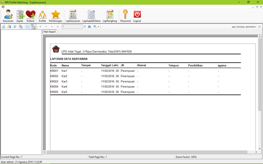 SPK Metode Profile Matching VB Laporan Karyawan