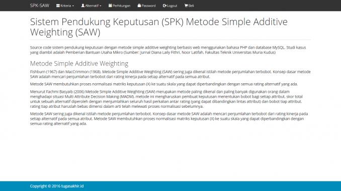 spk metode saw dengan php