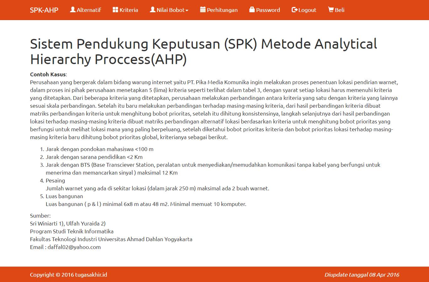 Source Code SPK metode AHP dengan PHP