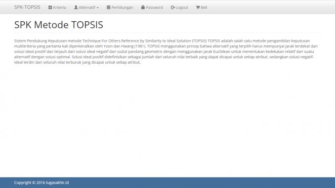 SPK metode topsis dengan php