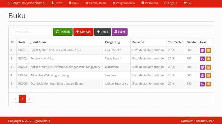 Sistem Informasi Perpus Sederhana PHP